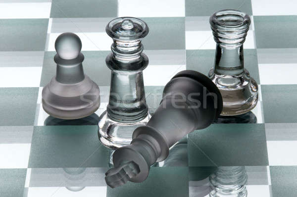 Piezas de ajedrez negro poder jugar fondos estrategia Foto stock © artfotoss