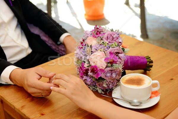 Сток-фото: невеста · жених · питьевой · кофе · ресторан