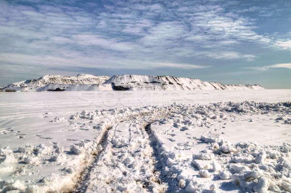 Tél hó égbolt tájkép kék hegyek Stock fotó © artfotoss