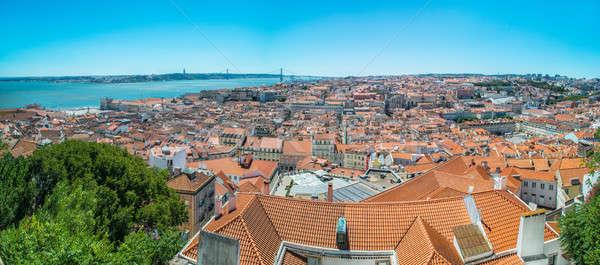 ストックフォト: 景観 · リスボン · ポルトガル · 空 · 家