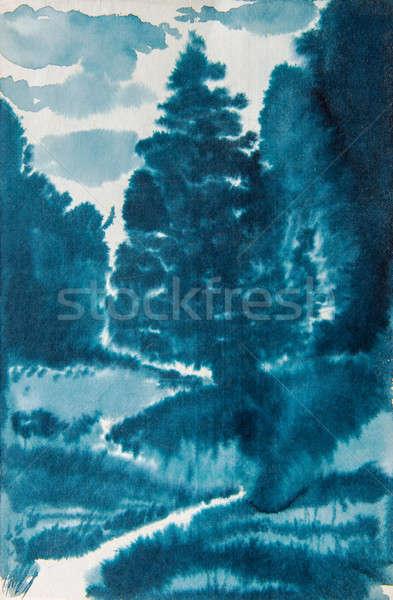 blue watercolor landscape Stock photo © artfotoss