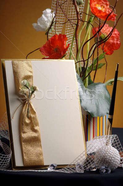 Arte cartão buquê flores tabela cartão em branco Foto stock © artfotoss