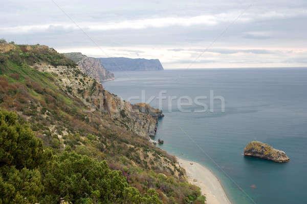 Mar paisagem rochas lugar região preto Foto stock © artfotoss