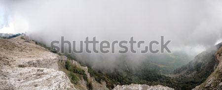 Montanha verão paisagem panorama casa árvore Foto stock © artfotoss