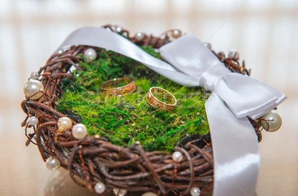 gold wedding rings Stock photo © artfotoss