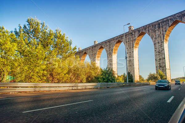 historic aqueduct in the city of Lisbon built in 18th century, P Stock photo © artfotoss