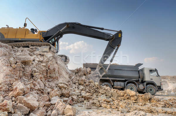 loading a large lorry building material Stock photo © artfotoss