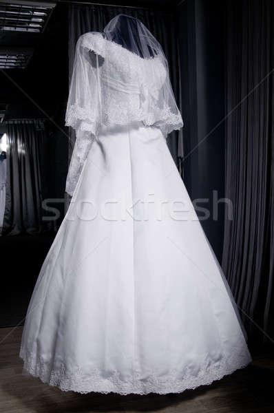 Detail of a weddings dress on a mannequin Stock photo © artfotoss