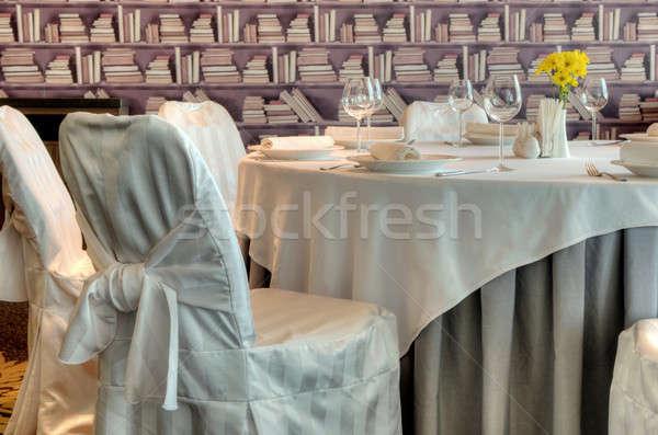 Luxueus interieur geserveerd banket ontwerp glas Stockfoto © artfotoss