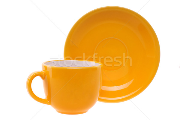 Narancs csésze csészealj izolált fehér étel Stock fotó © artfotoss