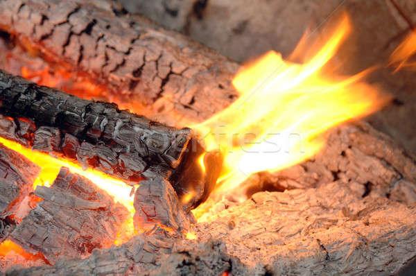 Ardente lareira fogo chamas interior amarelo Foto stock © artfotoss