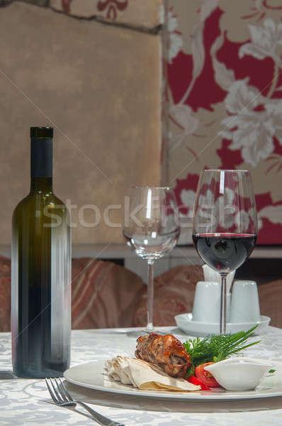 Saboroso carne prato molho legumes comida Foto stock © artfotoss