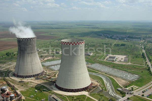 Carbone centrale elettrica pianeta parecchi sottile fumare Foto d'archivio © artfotoss