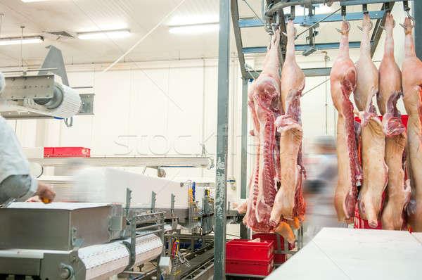 Foto stock: Açougueiro · carne · indústria · interior · fábrica · produção
