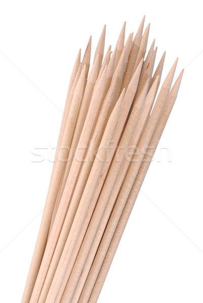 Többszörös fából készült bambusz fektet fehér étel Stock fotó © artfotoss