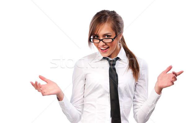 Beautiful girl secretário óculos isolado mulher luz Foto stock © artfotoss