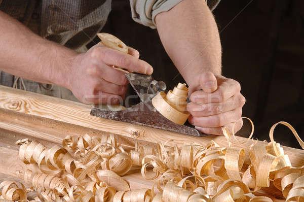 Műhely fa férfi kezek repülőgép fából készült Stock fotó © artfotoss