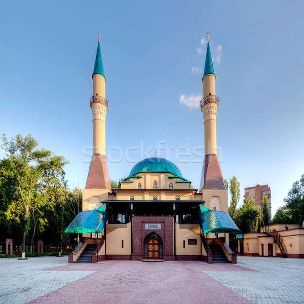 Mecset Ukrajna gyönyörű naplemente város tájkép Stock fotó © artfotoss
