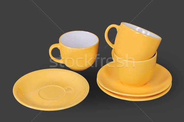 Arancione Cup piattino isolato grigio vetro Foto d'archivio © artfotoss