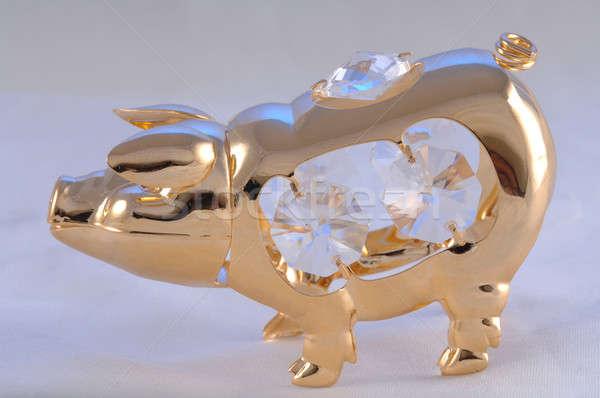 Arany malac arany szobor disznó áll Stock fotó © artfotoss