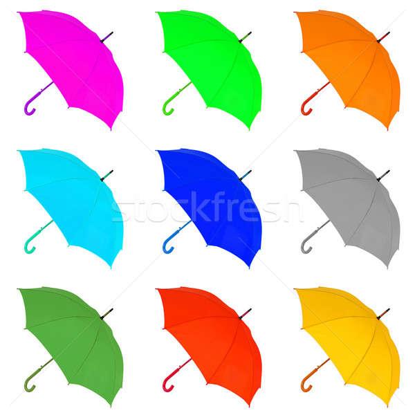 Tarka esernyő fehér kinyitott izolált víz Stock fotó © artfotoss