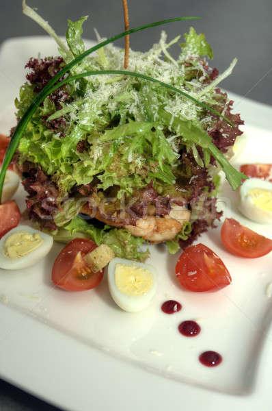 Quente salada legumes carne prato comida Foto stock © artfotoss