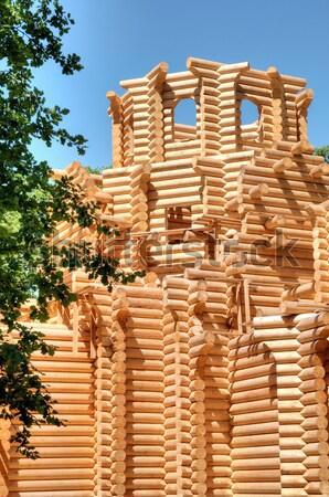 építkezés ortodox templom fából készült Ukrajna építészet Stock fotó © artfotoss
