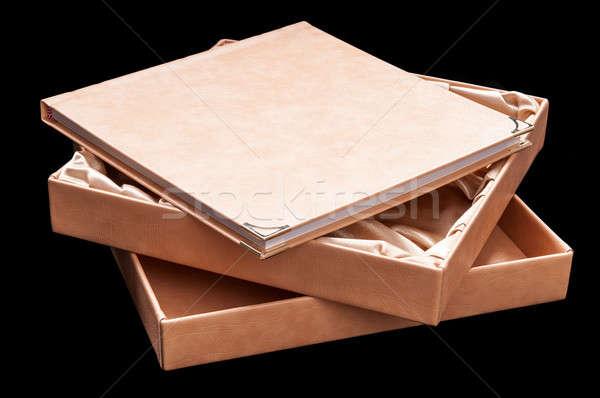 Könyv album fekete bézs keményfedeles iskola Stock fotó © artfotoss