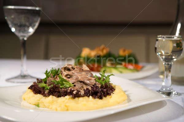 おいしい 皿 キノコ レストラン ウォッカ パン ストックフォト © artfotoss