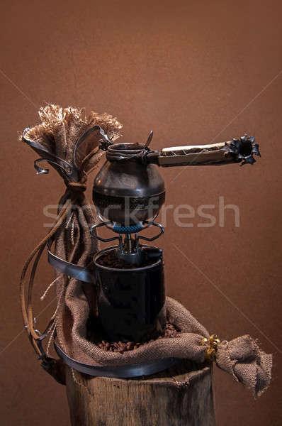Kávé csendélet edény tűz textúra fal Stock fotó © artfotoss