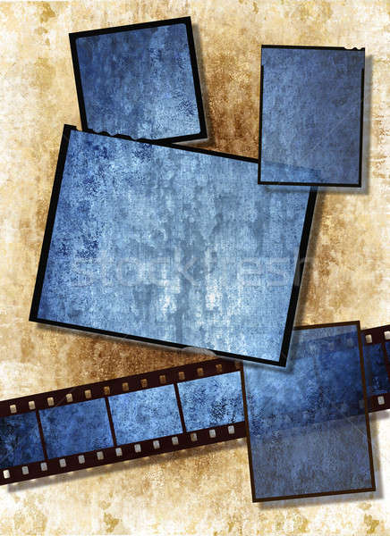 Stock photo: film strip and film plates with vintage grunge texture on grunge