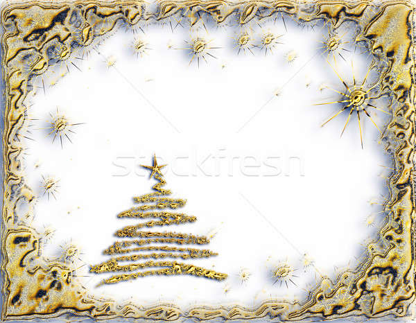 golden starry Christmas trees with stars on white background Stock photo © Artida