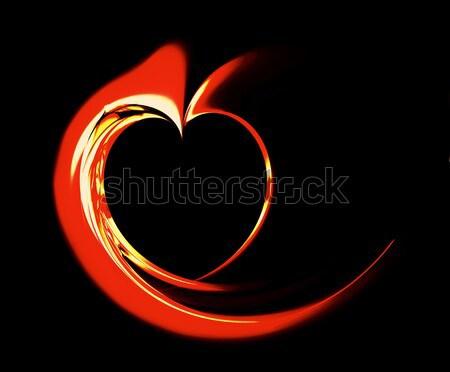 Piros tüzes szív szalag illusztráció fekete Stock fotó © Artida