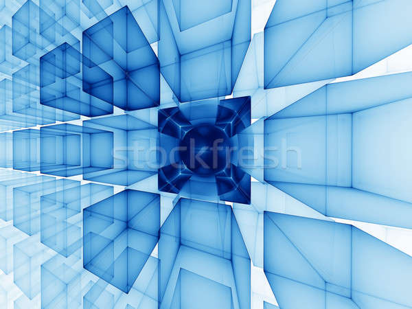 blue cubic perspective Stock photo © Artida