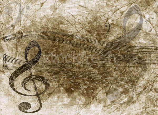 Гранж музыки отмечает старой бумаги скрипки ключевые музыки отмечает Сток-фото © Artida