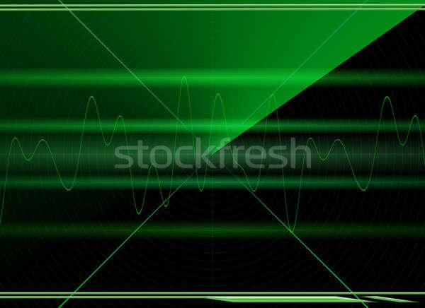 Radar ekranu zielone czarny ilustracja tle Zdjęcia stock © Artida