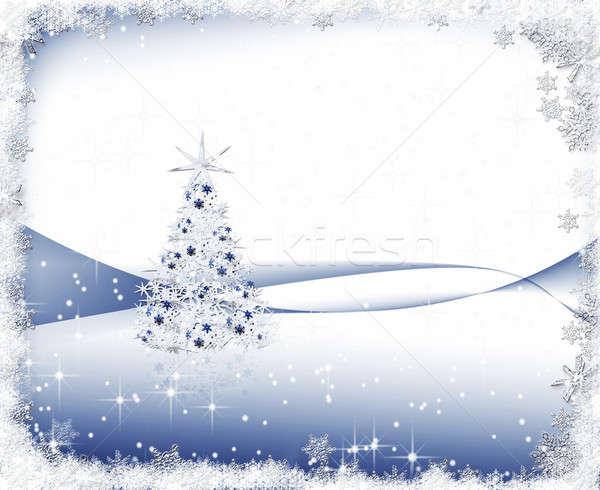 Ijzig christmas ingericht kerstboom sneeuwvlokken Stockfoto © Artida