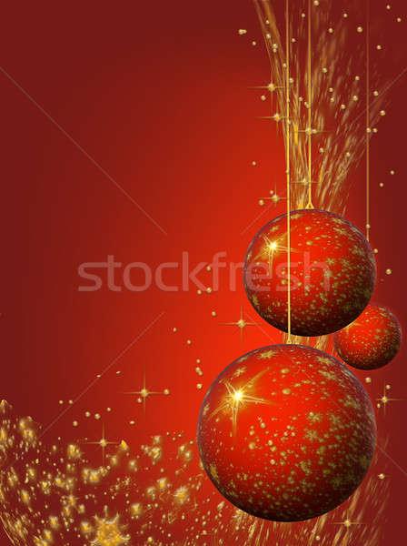Christmas decorating bulbs and stardust Stock photo © Artida