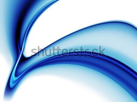 Dinamik mavi dalgalı hareket beyaz soyut Stok fotoğraf © Artida