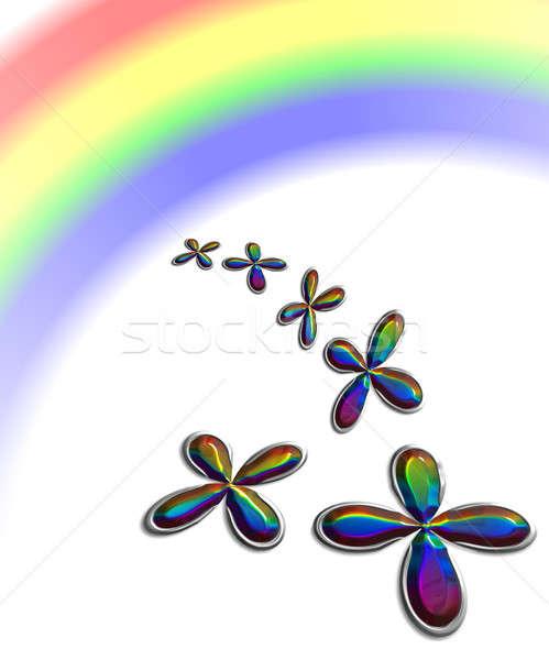 Shamrock with rainbow reflection Stock photo © Artida