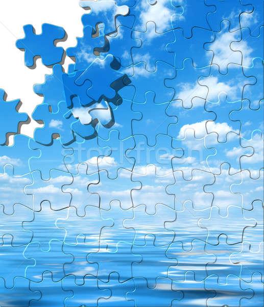 Ciel bleu eau réflexion puzzle texture soleil Photo stock © Artida