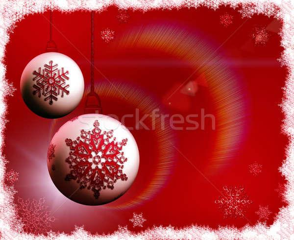 Christmas czerwony płatki śniegu tle zimą wakacje Zdjęcia stock © Artida