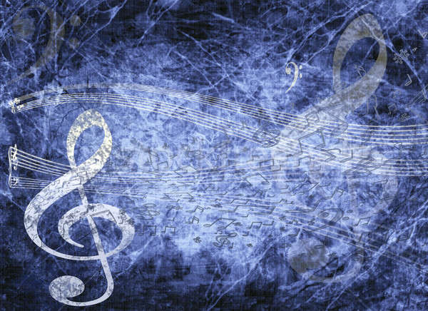 Stock photo: blue musical background in grunge style