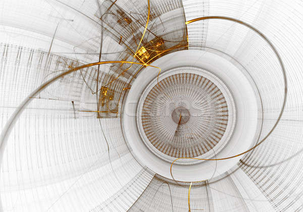 Mekanizma eski altın dişli beyaz eski Stok fotoğraf © Artida