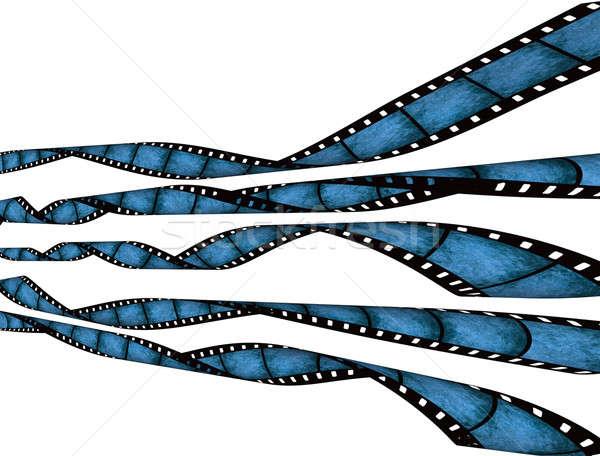 Film strips vintage Blauw grunge textuur golvend Stockfoto © Artida