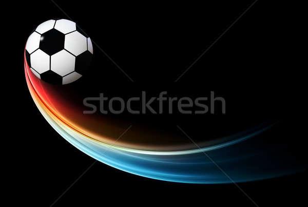 Repülés lángoló labda kék láng futball Stock fotó © Artida