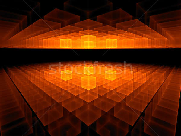 fiery cubic horizon on black stretching off to infinity          Stock photo © Artida