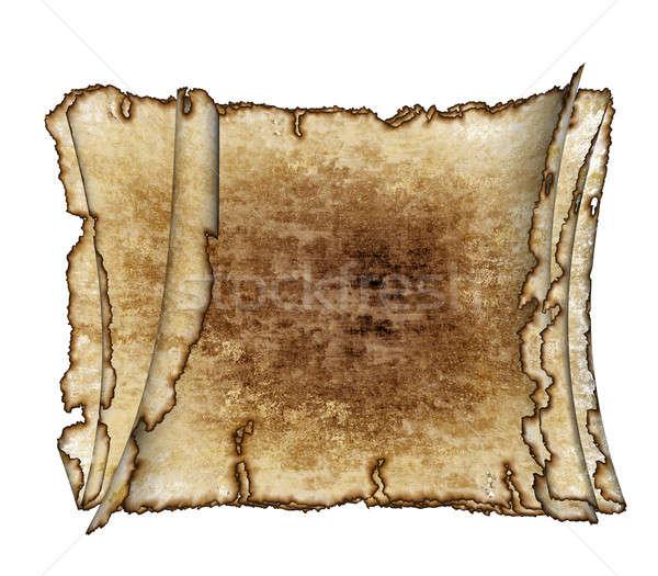Antique Scroll Paper: Three Rough Antique Parchment Paper Scrolls Stock Photo