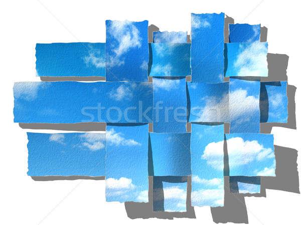 Gökyüzü mavi gökyüzü kabarık bulutlar kâğıt bahar Stok fotoğraf © Artida