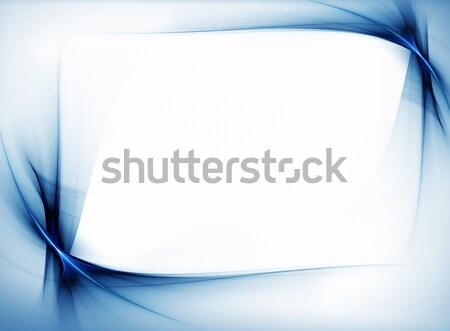 Mavi dalgalı sınır çerçeve bo beyaz Stok fotoğraf © Artida
